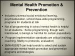 mental health promotion prevention