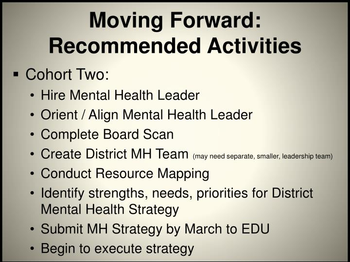 Moving Forward: Recommended Activities