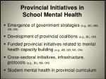 provincial initiatives in school mental health