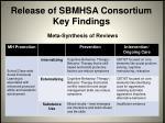 release of sbmhsa consortium key findings