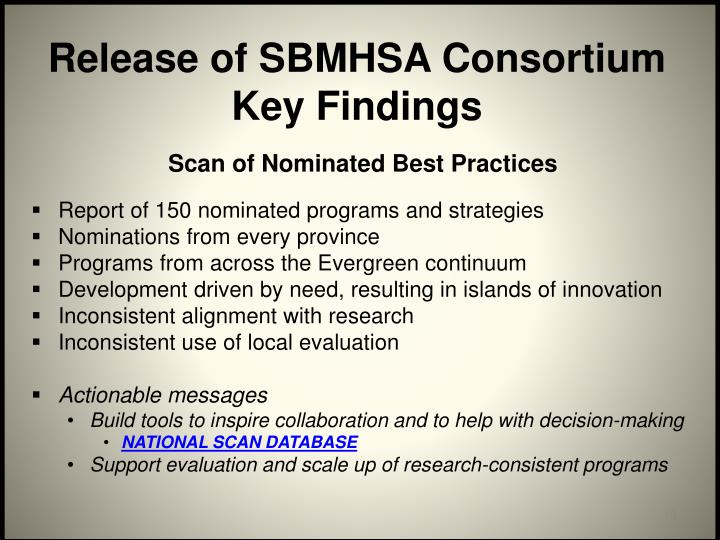 Release of SBMHSA Consortium Key Findings