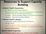 resources to support capacity building