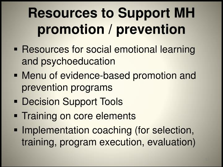 Resources to Support MH promotion / prevention