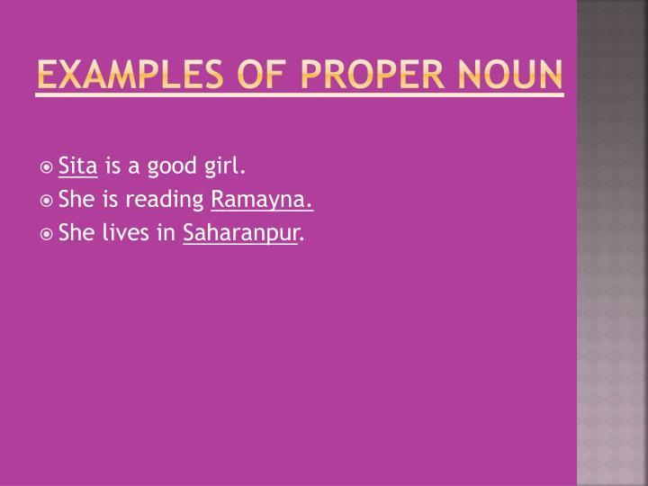 Examples of Proper Noun