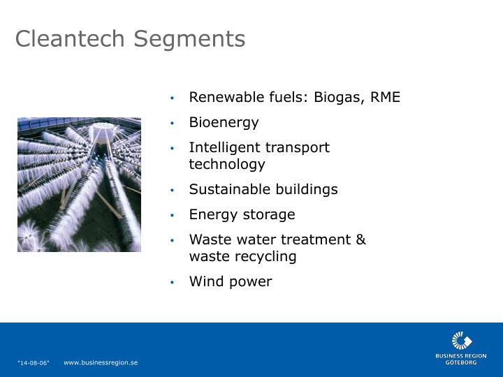 Cleantech Segments