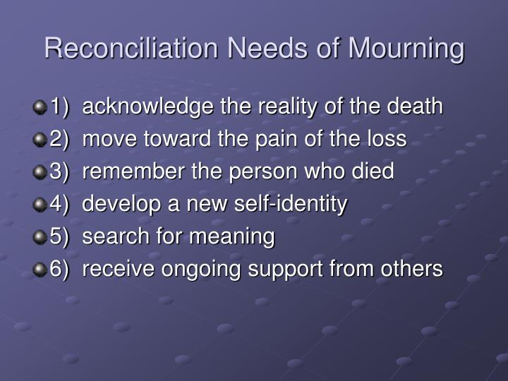 Reconciliation Needs of Mourning