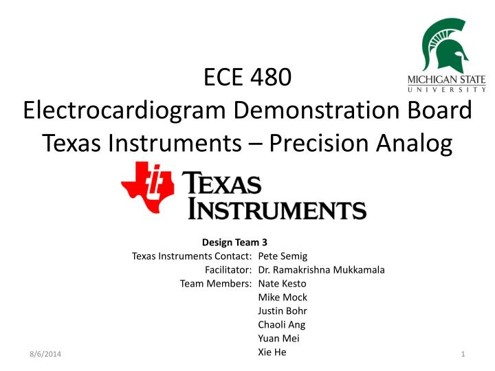 Ece 480 electrocardiogram demonstration board texas instruments precision analog