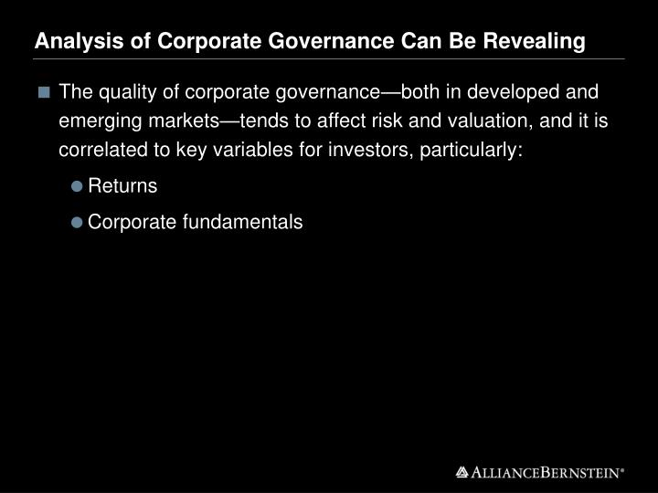 Analysis of Corporate Governance Can Be Revealing