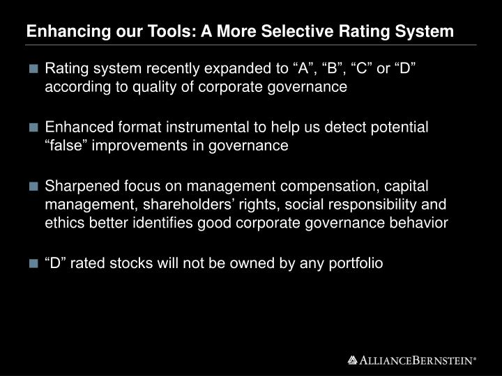Enhancing our Tools: A More Selective Rating System
