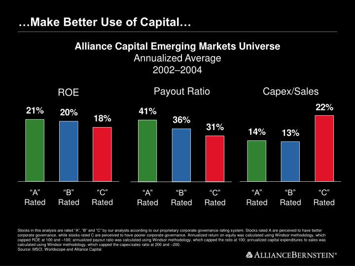 …Make Better Use of Capital…