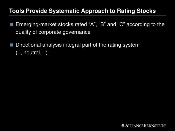 Tools Provide Systematic Approach to Rating Stocks