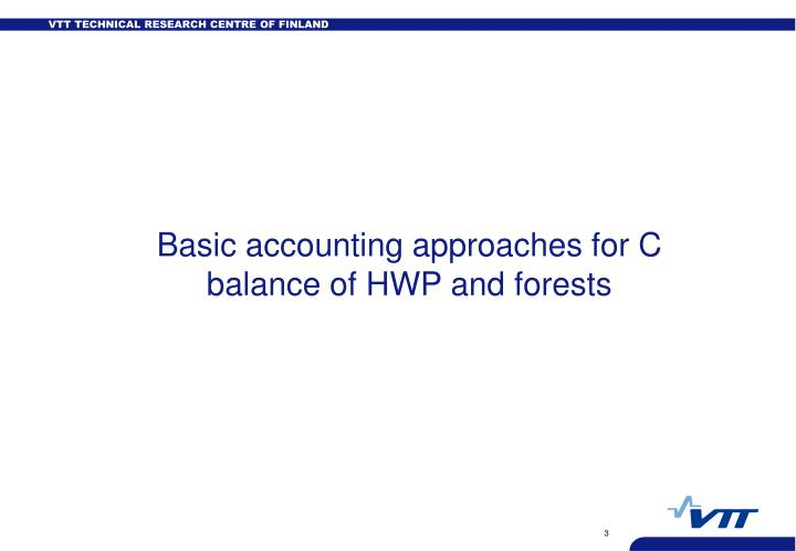 Basic accounting approaches for C balance of HWP and forests