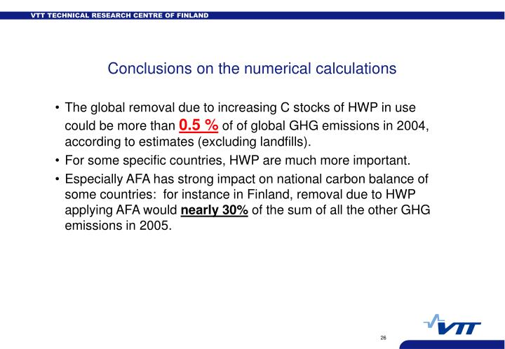 Conclusions on the numerical calculations