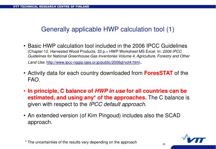Generally applicable HWP calculation tool (1)