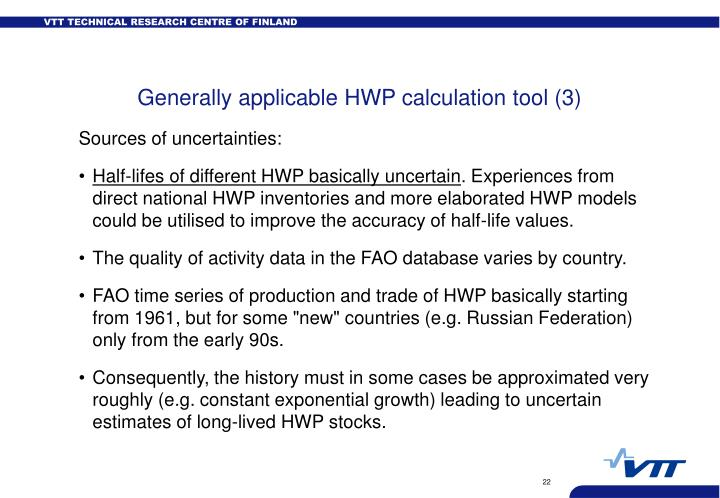 Generally applicable HWP calculation tool (3)