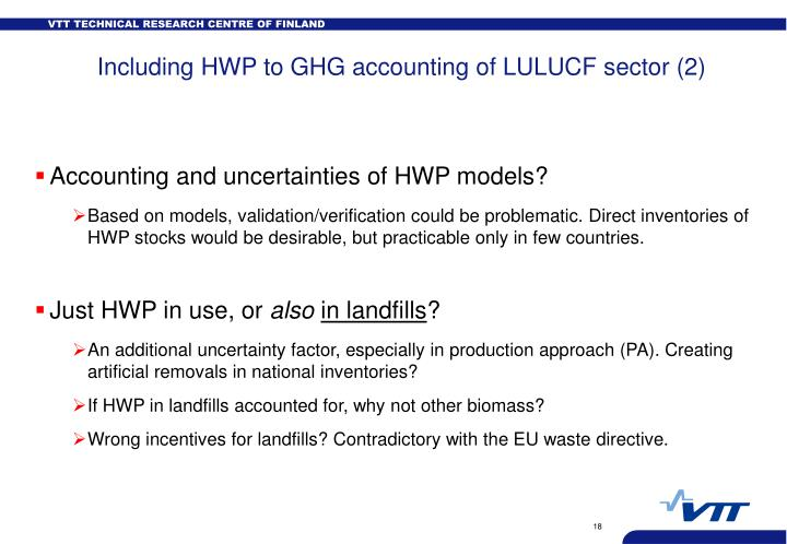 Including HWP to GHG accounting of LULUCF sector (2)