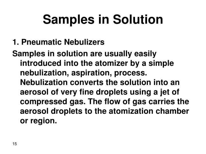Samples in Solution