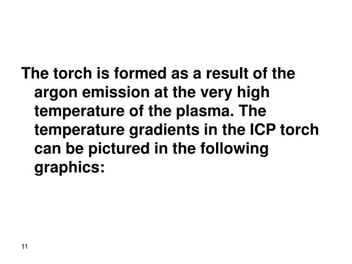 The torch is formed as a result of the argon emission at the very high temperature of the plasma. The temperature gradients in the ICP torch can be pictured in the following graphics:
