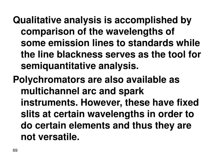 Qualitative analysis is accomplished by comparison of the wavelengths of some emission lines to standards while the line blackness serves as the tool for semiquantitative analysis.