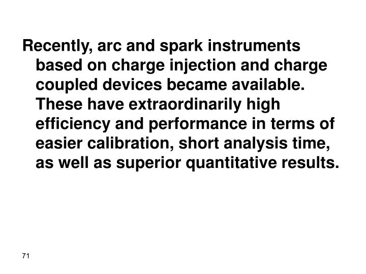Recently, arc and spark instruments based on charge injection and charge coupled devices became available. These have extraordinarily high efficiency and performance in terms of easier calibration, short analysis time, as well as superior quantitative results.