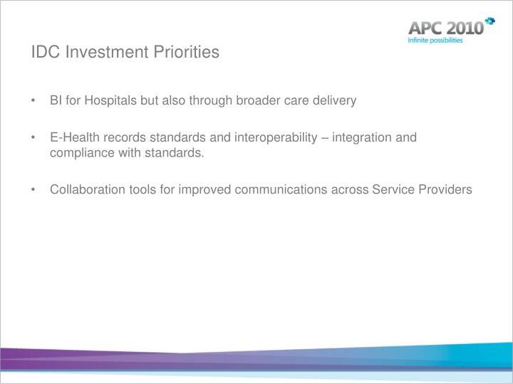 IDC Investment Priorities