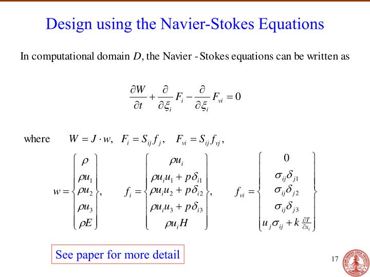 Design using the Navier-Stokes Equations