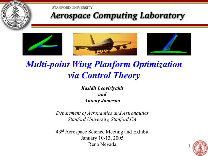 Multi point wing planform optimization via control theory