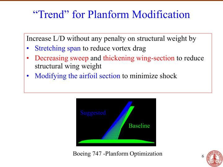 """Trend"" for Planform Modification"