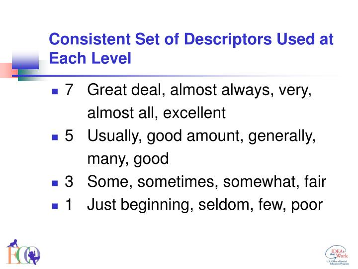 Consistent Set of Descriptors Used at Each Level