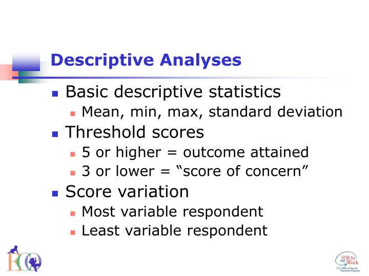 Descriptive Analyses