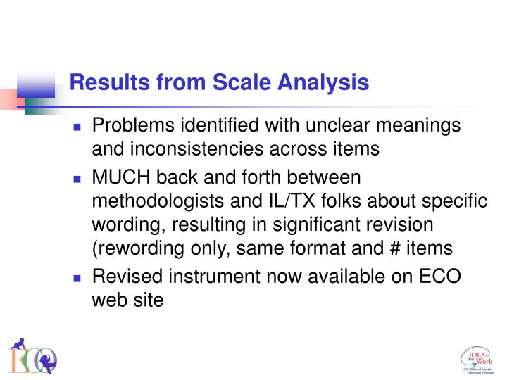 Results from Scale Analysis