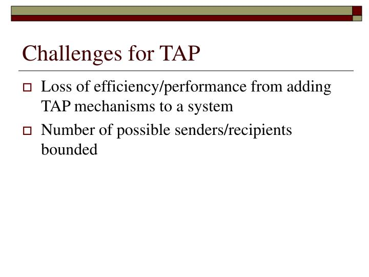 Challenges for TAP