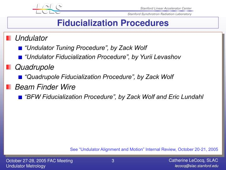 Fiducialization Procedures