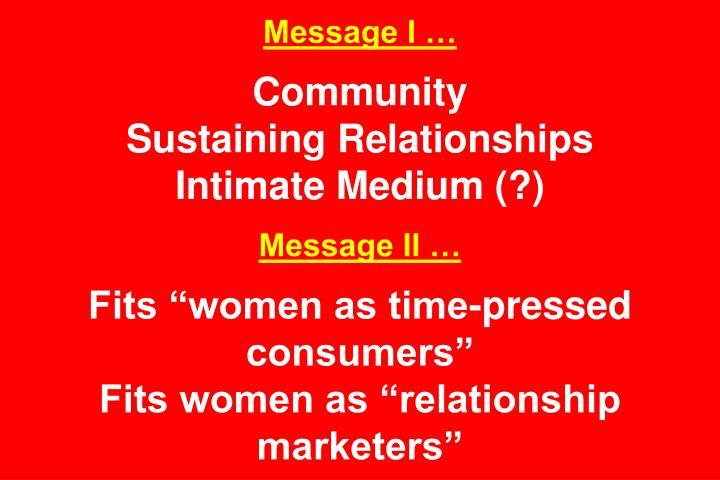 Message I …