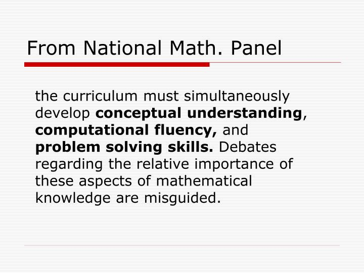From National Math. Panel