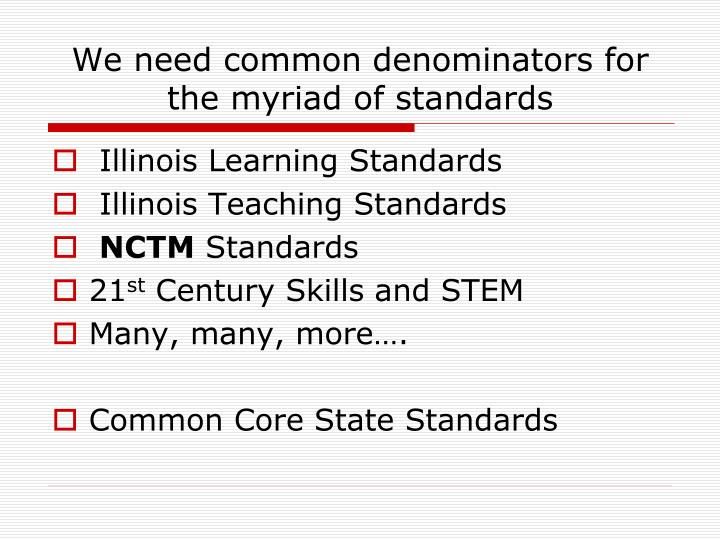 We need common denominators for the myriad of standards
