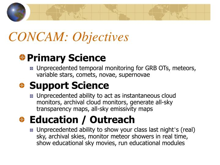 CONCAM: Objectives