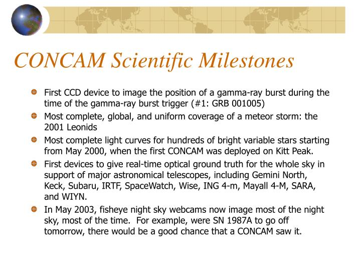 CONCAM Scientific Milestones