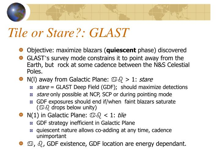 Tile or Stare?: GLAST