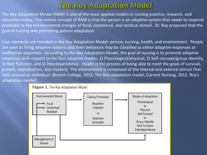 an analysis of roy's adaptation model Roy adaptation model essay roy adaptation model roy adaptation model (ram), defined as a process of adaptation in which people respond positively to changes in the environment based on three types of stimuli - focal.