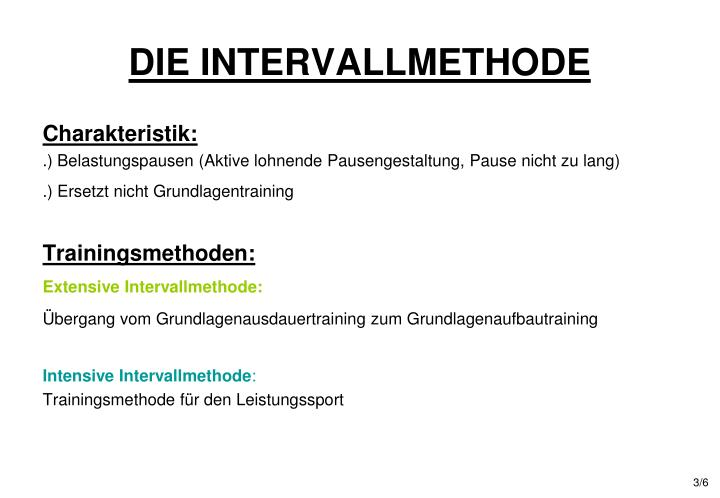 DIE INTERVALLMETHODE