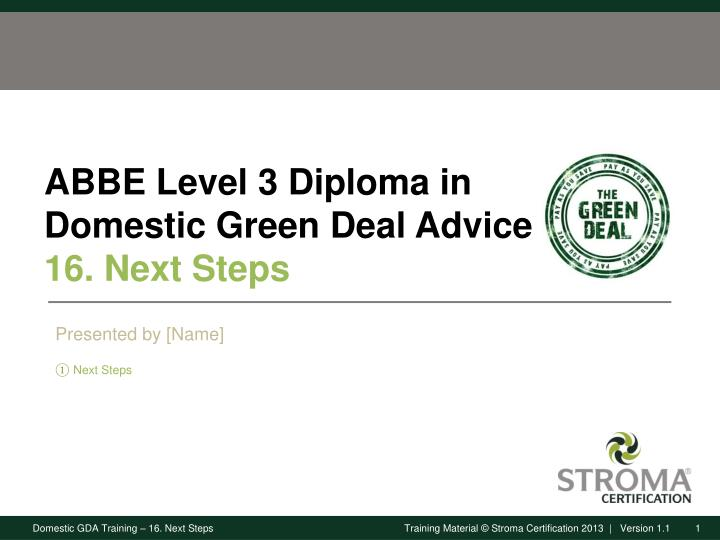 Abbe level 3 diploma in domestic green deal advice 16 next steps