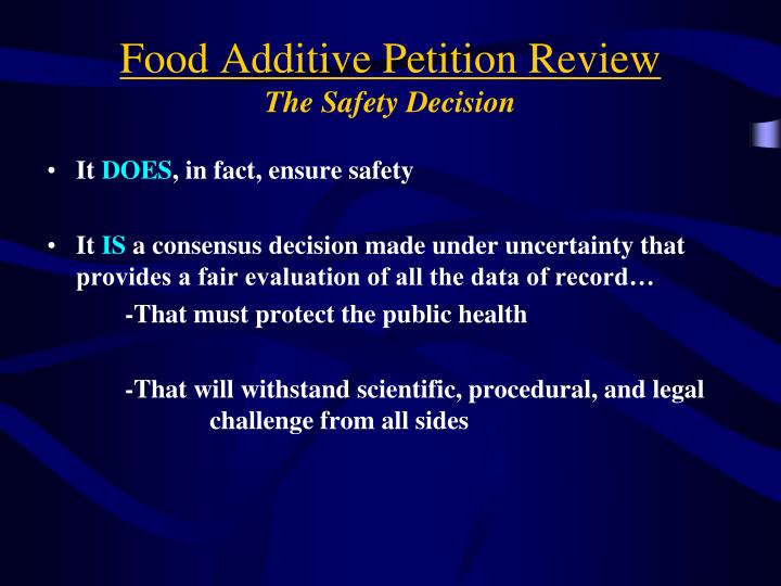 Food Additive Petition Review