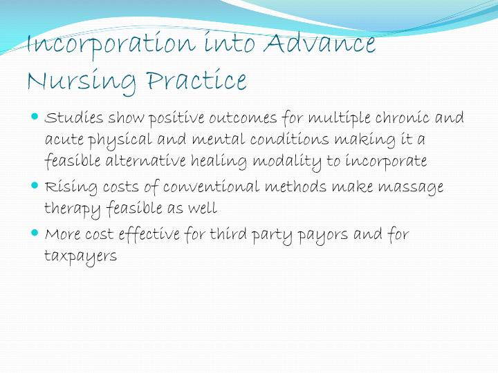 Incorporation into Advance Nursing Practice