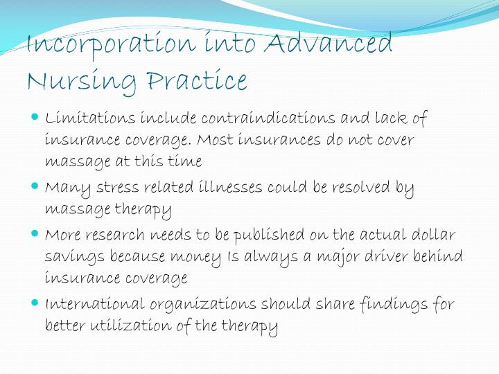 Incorporation into Advanced Nursing Practice