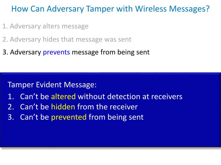 How Can Adversary Tamper with Wireless Messages?