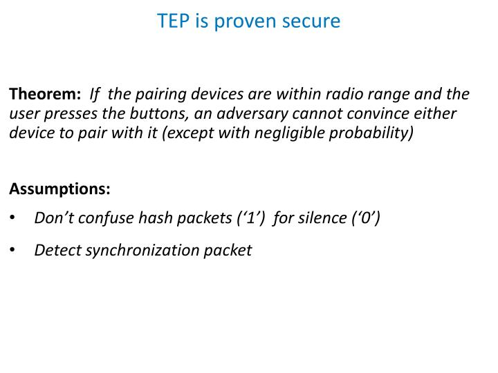 TEP is proven secure