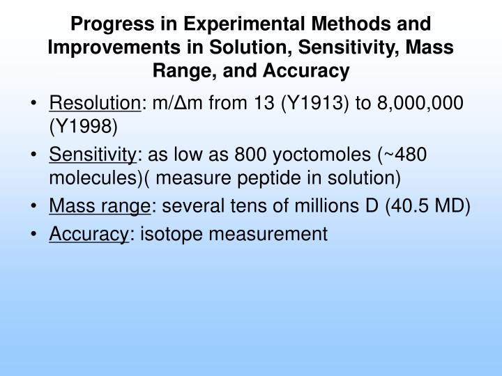 Progress in Experimental Methods and Improvements in Solution, Sensitivity, Mass Range, and Accuracy