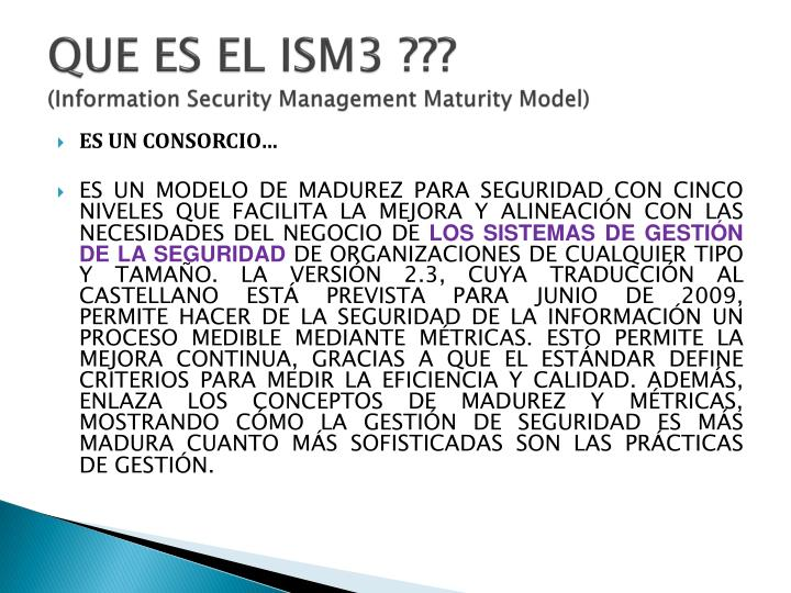 Que es el ism3 information security management maturity model