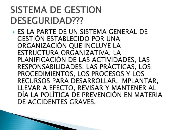 SISTEMA DE GESTION DESEGURIDAD???